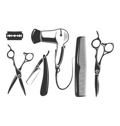 Barber shop elements for logo labels and vector image