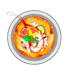 Tom yum goong or thai spicy sour soup with prawns vector