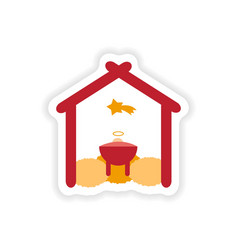 Paper sticker on white background newborn jesus vector