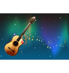 A brown guitar with a butterfly and musical notes vector