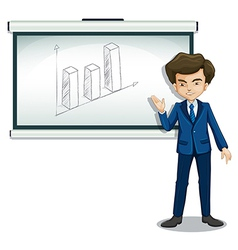 A man standing in front of a bulletin board with a vector image
