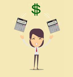 accountant enjoying of money and her work vector image vector image