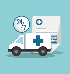 Ambulance transport emergency 24-7 document vector