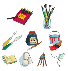 artist and drawing set icons in cartoon style big vector image vector image