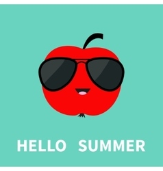 Big red apple fruit wearing sunglasses Cute vector image