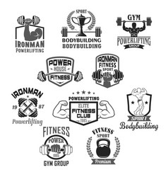 bodybuilding gym or powerlifting club icons vector image