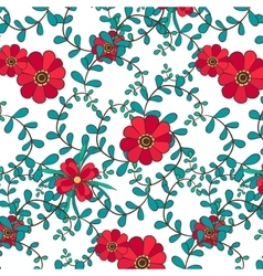 Botanical seamless pattern leafs and flowers vector
