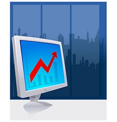 Chart On Computer Screen vector image vector image