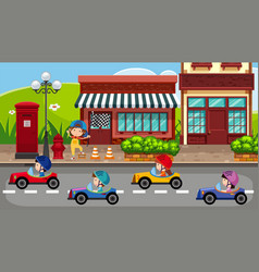 Children driving carts on the road vector