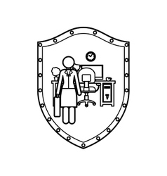 Contour shield of woman administrator in office vector