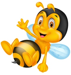 Cute little bee cartoon waving hand vector