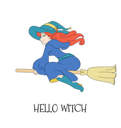 Cute young redheaded witch flying on a broom vector