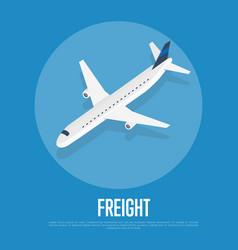 Delivery freight isometric banner with plane vector