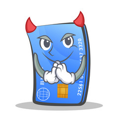 devil credit card character cartoon vector image vector image