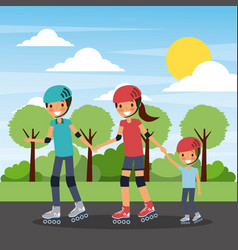 family practicing roller skate in the park vector image