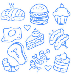 Food various object of doodle set vector