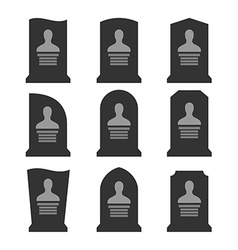 Gravestones set Different shapes with portrait vector image