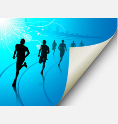 Group of runners on a blue cityscape background vector