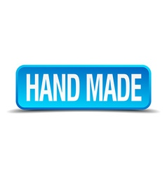 Hand made blue 3d realistic square isolated button vector image