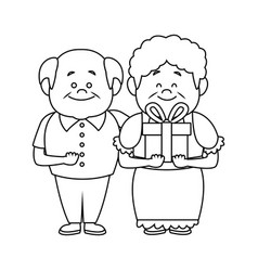 Happy grandparents holding gift box grandpa and vector