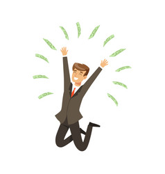 Happy rich successful businessman character having vector