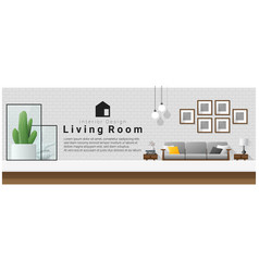 interior design table top and modern living room vector image vector image