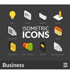 Isometric outline icons set 10 vector image