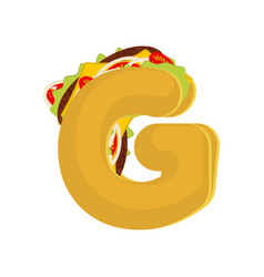 letter g tacos mexican fast food font taco vector image