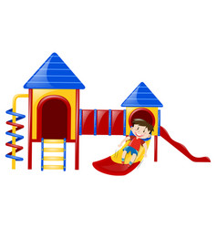 little boy playing on slide vector image vector image