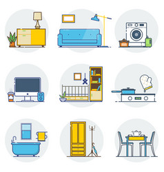 set of line interior design icons line sign and vector image vector image