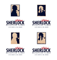 Set of sherlock holmes logos or emblems detective vector