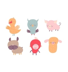 Sleepy creatures set vector image