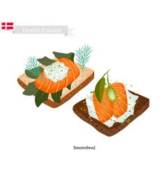 smorrebrod with smoked salmon the national dish o vector image vector image