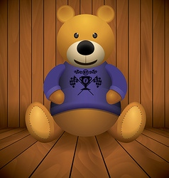 Teddy bear brown stuffed toy print on chest wooden vector image vector image
