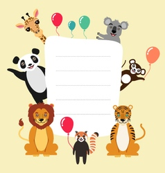Template with cartoon animals vector image