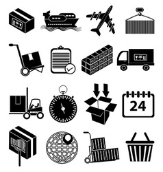 Warehouse logistics icons set vector image vector image