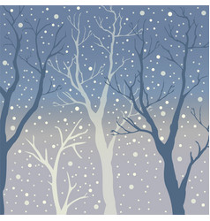 winter trees background winter landscape with vector image