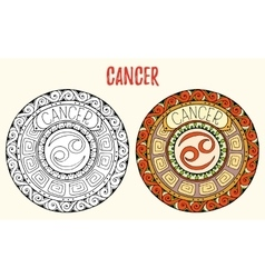 Zodiac signs theme Black and white and colored vector image