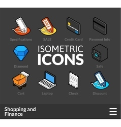 Isometric outline icons set 11 vector image
