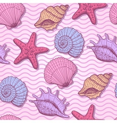 Sea shells hand drawn seamless pattern vector image