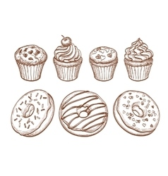 Pastry sweets collection vector image