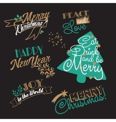 Xmas and ny stickers and logotypes set vector