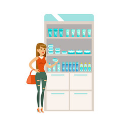 Young girl in pharmacy choosing and buying drugs vector
