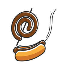 Fresh hot dog and sausage on stick isolated on vector