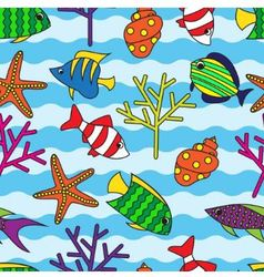 Seamless pattern with colorful fish and coral vector