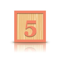Number 5 wooden alphabet block vector