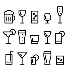 Drink alcohol beverage line icons set vector
