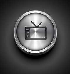 Metallic television icon vector