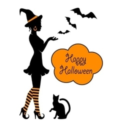 Silhouette of a witch on halloween vector