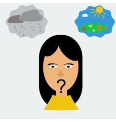 Woman head in depression vector